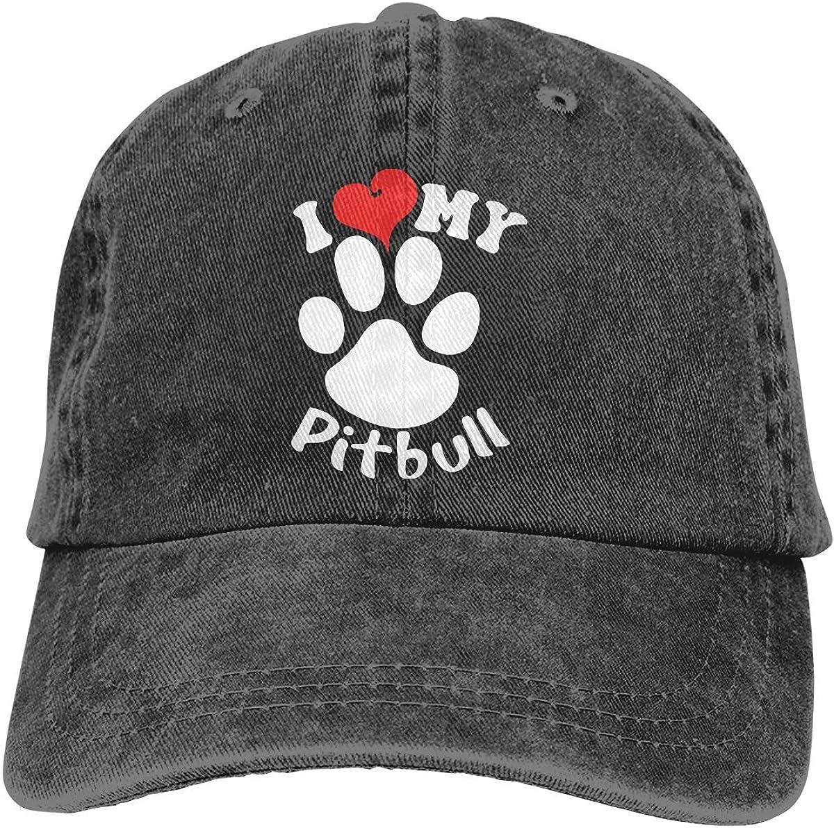 I Love My Pitbull Unisex Custom Denim Sun Hat Adjustable Baseball Cap