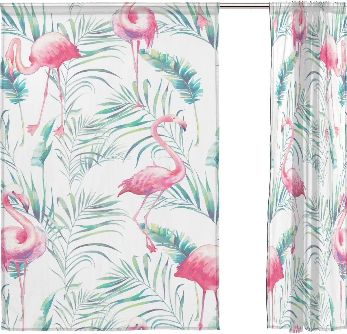 INGBAGS Watercolor Flamingo and Tropical Leaves Voile Window Long Sheer Curtain 2 Panels Cat with Butterfly Scenery Print Tulle Polyester for Door Window Room Decoration 55×78 Inch,Set of 2