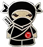 Anti Amour Ninja Afraid of Love Heartbroken drôle Patch ''8 x 8 cm'' - Écusson brodé Ecussons Imprimés Ecussons Thermocollants Broderie Sur Vetement Ecusson