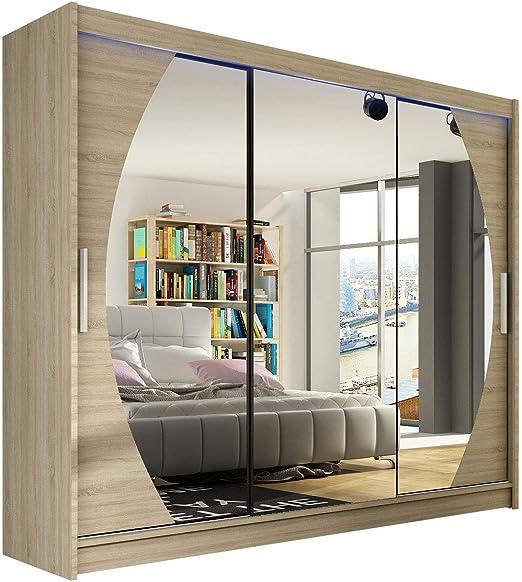 Mirjan24 Moderno Armario Aston V con Espejo, Perchero, Dormitorio ...