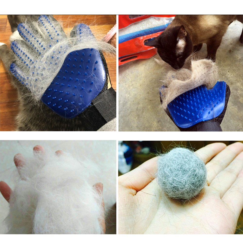 Pet Grooming Gloves, Naisidier One Pair Pet Dog Hair Remover Mitt Gentle Pet Massage Tool - Great for Dog Cat Messaging & Deshedding, Blue