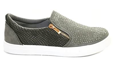 ce79763e6 Image Unavailable. Image not available for. Colour: Definitely You Ladies  Womens Flat Diamante Slip On Zip Trainers Plimsolls Sneakers Pumps ...