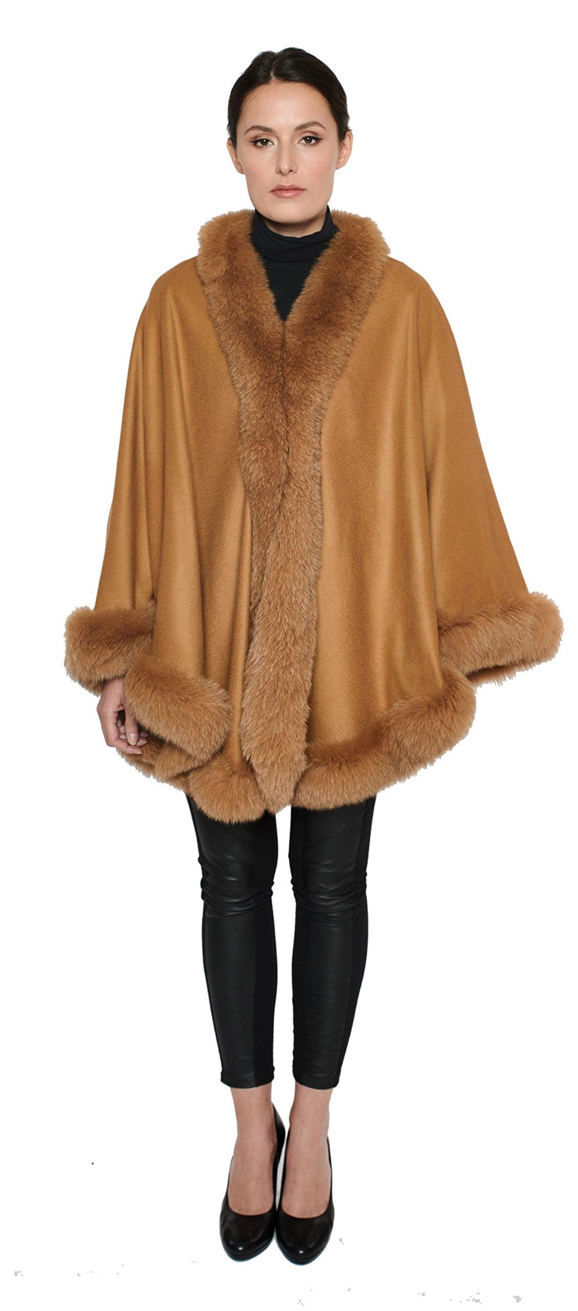 Cashmere Pashmina Group: Cashmere Cape with genuine Fox Fur Trim all around - Camel