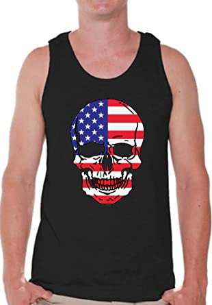 9e3f93c1ccfe2d Pekatees USA Skull Tank Top for Men USA Flag Muscle Shirt 4th of July Tank  Top