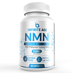 Infinite Age PURE NMN (250mg) | Nicotinamide Mononucleotide Supplement | Support Optimal Brain Function| NAD Anti-Aging Support | Supports Health Energy Production I 60 Capsules