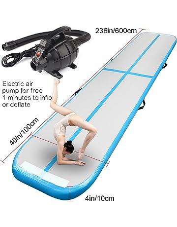 Alfombrilla hinchable Airtrack para gimnasia con bomba de aire eléctrica para gimnasio, yoga, entrenamiento