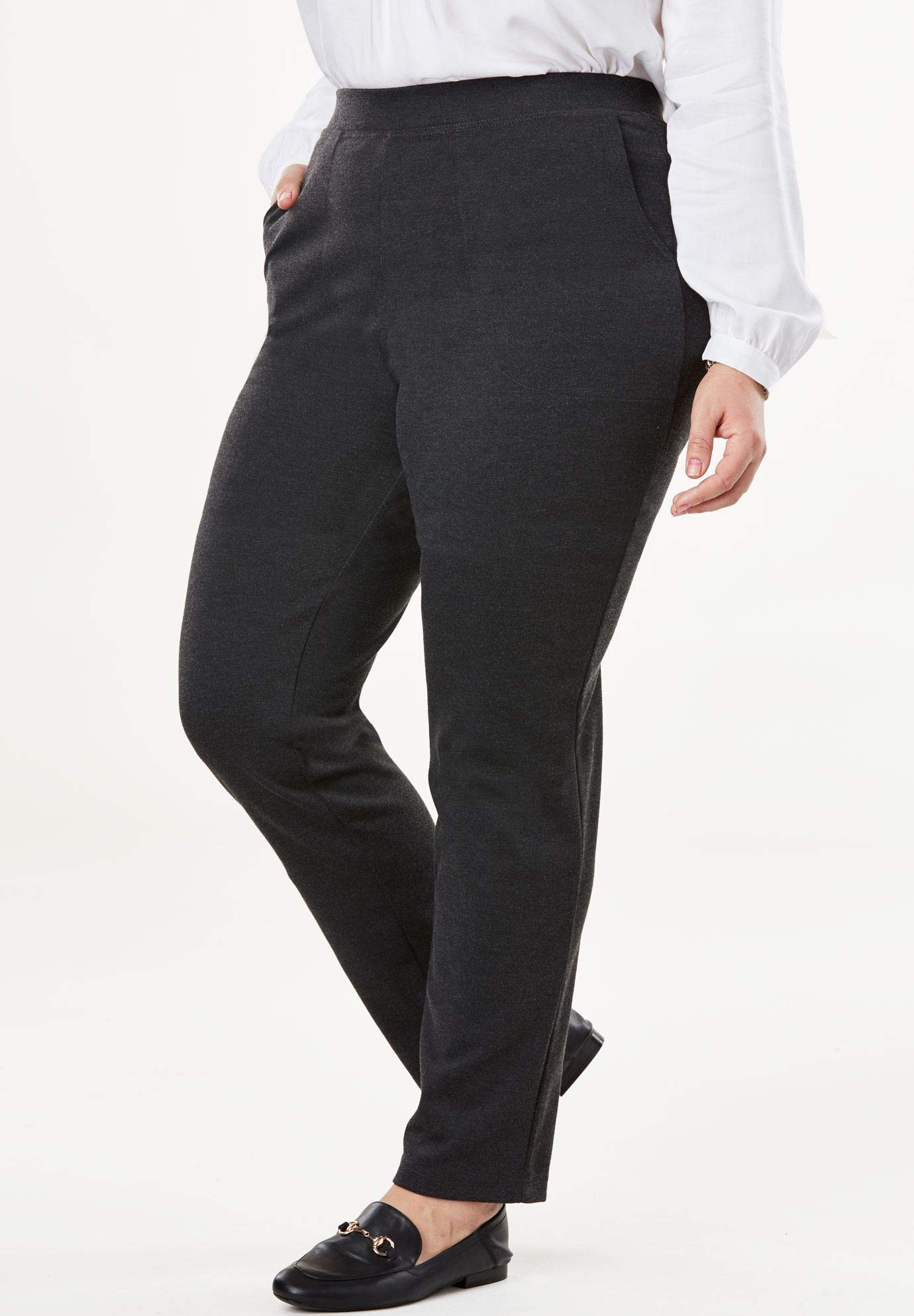 Women's Plus Size Petite Straight Leg Ponte Knit Pant
