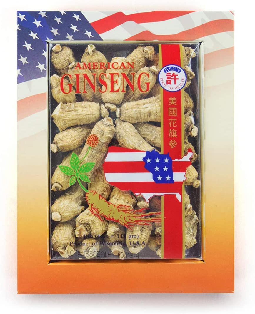 HSU s Ginseng SKU 113-4 Short Medium Small Cultivated American Ginseng from Marathon Co, Wisconsin USA w One Free Single American Ginseng Tea Bag 4oz Box, , B0054ELDEY