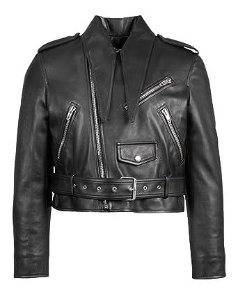 Balenciaga Black Leather Zip-Up Motorcycle Jacket Size 38 2 at ... 949a94079d