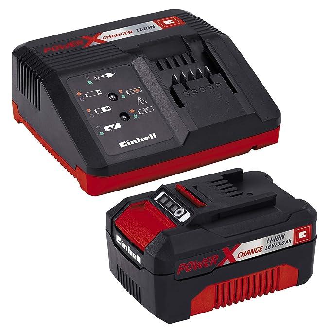 Einhell GE-LC 18 Li Kit - Motosierra a batería Power X-Change 18V (con batería de 3,0Ah y cargador), velocidad de corte: 4.3 m/s, longitud de corte: ...