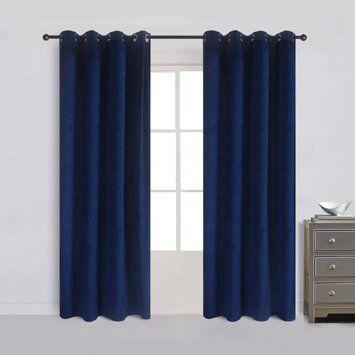 Cherry Home Luxury Velvet Blackout Curtains Panels With Grommet Draperies Eyelet 52Wx72L Inch Navy Royal Blue, 2 Panels for Theater,Bedroom, Living Room and Hotel