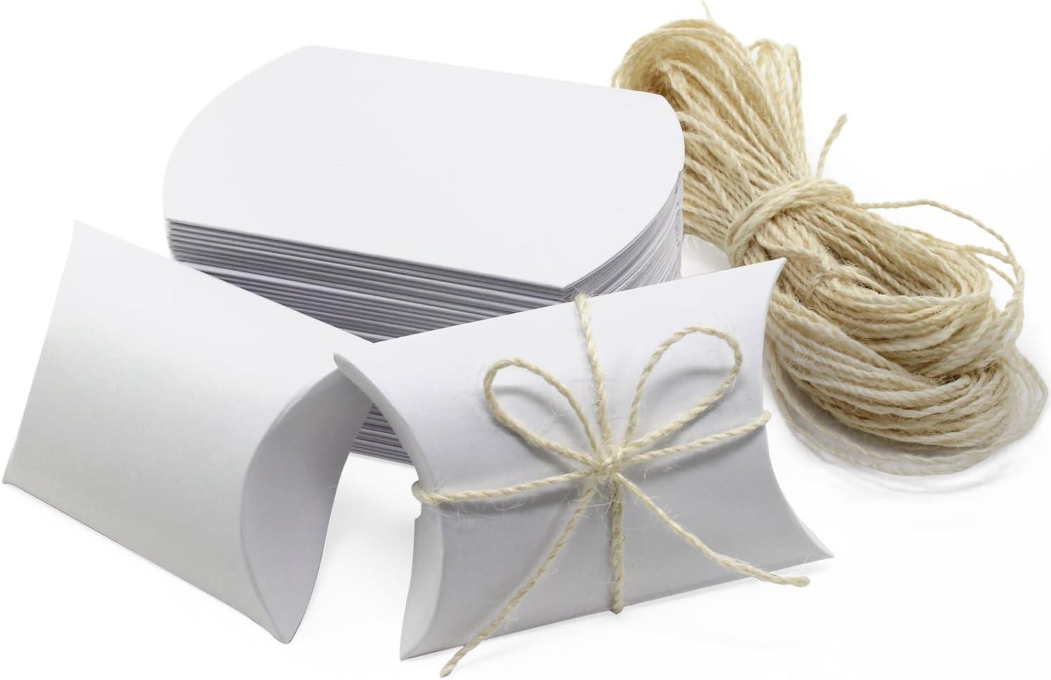HSeaMall Caja de almohada Caja de regalo de caja de dulces de papel Kraft para boda, fiesta de cumpleaños, blanco, 50PCS