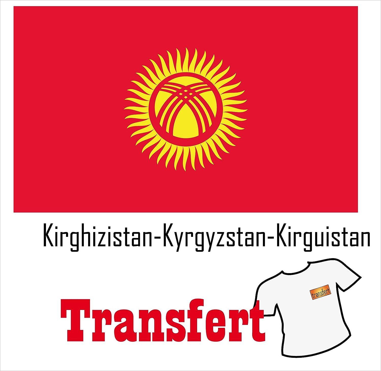 3 Transferts pour textile clair 25 x 40 mm Drapeau Kirghizistan-Kyrgyzstan-Kirguistan
