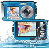 Underwater Camera Full HD 2.7K 48MP Waterproof Camera for Snorkeling Dual Screen Waterproof Camera Digital with Self-Timer an