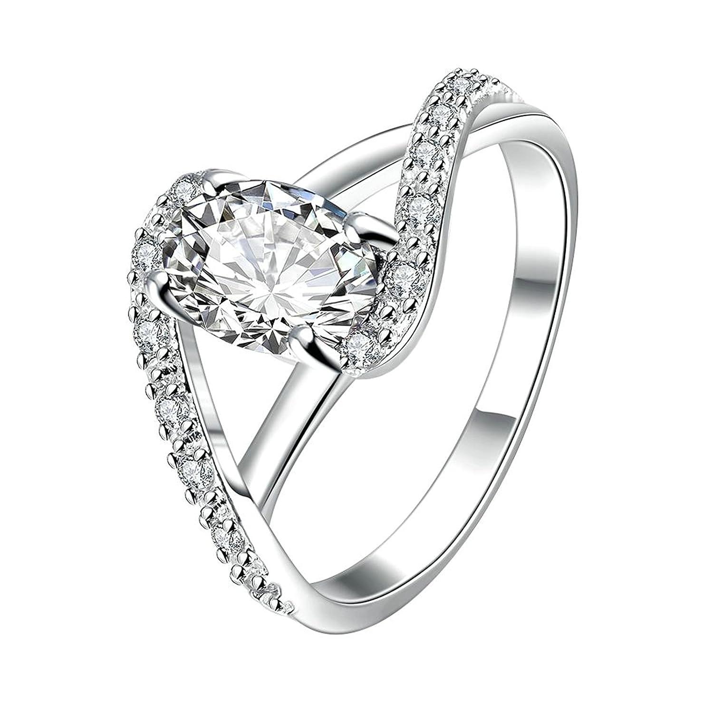 Gnzoe Fashion Jewelry Women Silver Plated Finger Rings Elegant Hollow Kelp Stone Shape Wedding Band Inlaid CZ Zircon Size 8