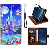DISNEY COLLECTION Disney Character Castle Leather Wallet Case for Samsung Galaxy S8 (2017) 5.8 Version Good-Looking