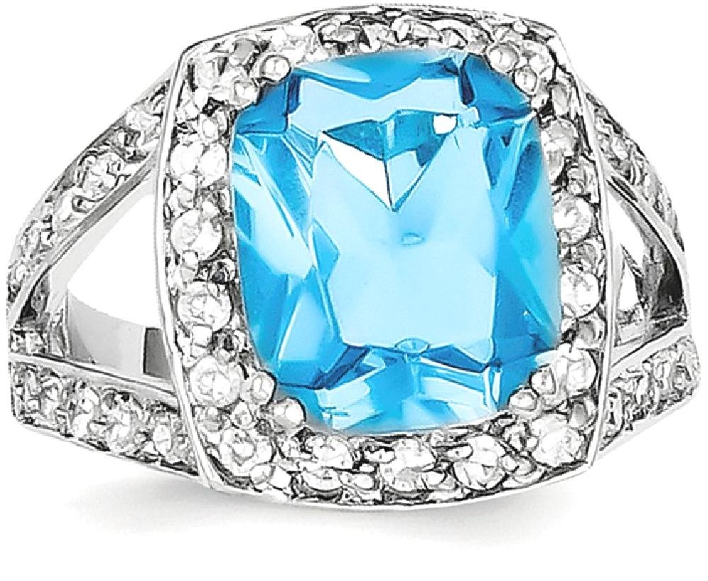 ICE CARATS 925 Sterling Silver Blue Glass Clear Cubic Zirconia Cz Band Ring Size 8.00 Fine Jewelry Ideal Gifts For Women Gift Set From Heart by ICE CARATS (Image #2)