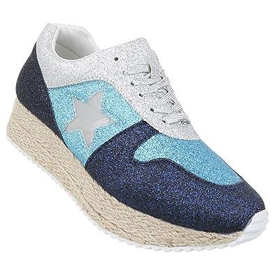 925050f6a7 Schuhcity24 Damen Sneakers Glitzer | Schuhe gelochte Seiten | Sneaker Low  Leder Optik | Freizeitschuhe Schnürer | Sportschuhe weiße Sohle: Amazon.de:  Schuhe ...