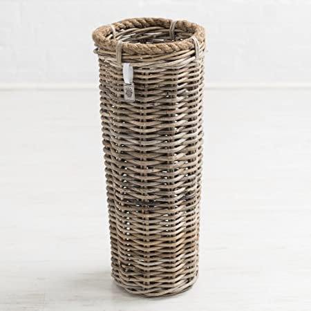 Bliss and Bloom Umbrella Stand Grey Rattan Wicker