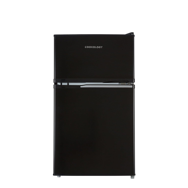 Cookology UCFF87BK 47cm Freestanding Undercounter 2 Door Fridge Freezer in Black [Energy Class A+]