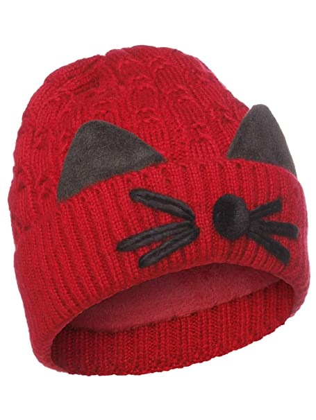 5602e399a20 Emmalise Women s Double Pom Pom Beanie Warm Winter Knit Hat - Cat Whiskers  - Burgundy