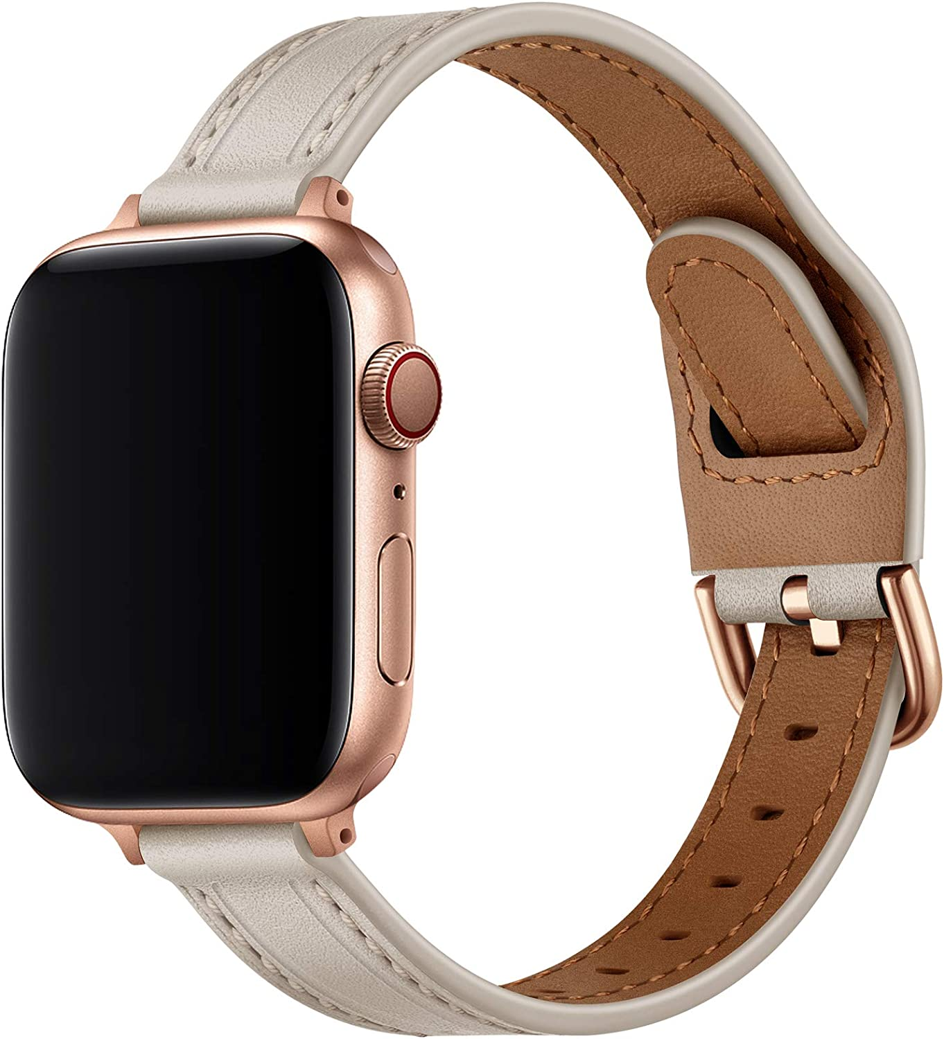 OUHENG Slim Band Compatible with Apple Watch Bands 40mm 38mm 44mm 42mm, Women Thin Genuine Leather Replacement Strap Compatible with iWatch SE Series 6/5/4/3/2/1 (Ivory White/Rose Gold, 40mm 38mm)