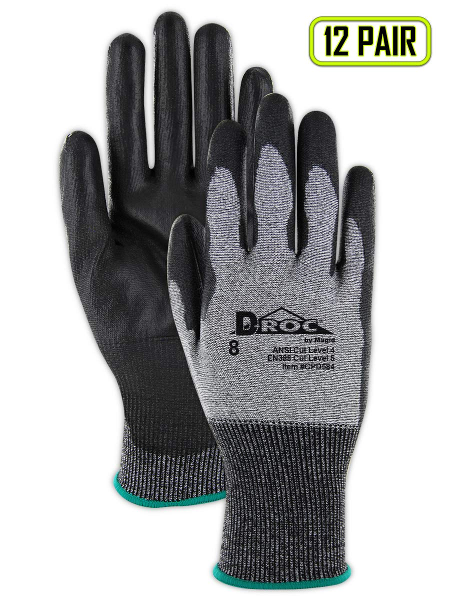 Magid Glove & Safety D-ROC GPD584 18-Gauge Blend Polyurethane Palm Coated Work Glove - Cut Level 4, Black