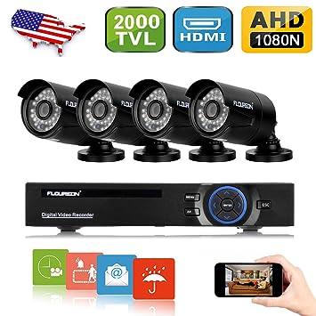 FLOUREON House Camera 8CH 1080N AHD CCTV DVR Security System + 4 X 2000TVL 960P Amazon.com: