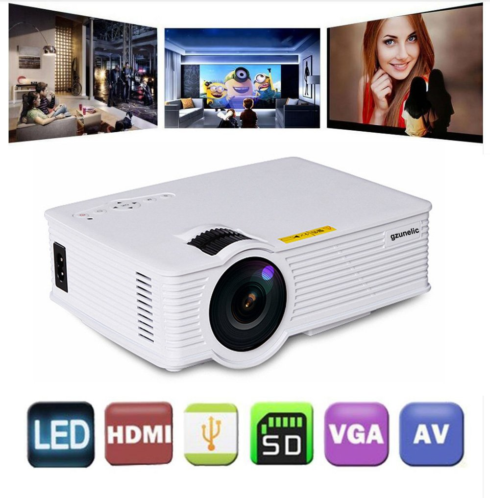 Gzunelic +30% Lumens Mini Led Video Projector Max 180'' display Portable Lcd Home Theater Projector Support 1080p Full HD Ideal for Home Entertainment Game by Gzunelic