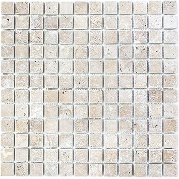 Mozaiektegel Travertin Natuursteen Walnoot Noce Antique Travertin Voor Muur Badkamer Toilet Douche Keuken Tegelspiegel Thekenverkoleding Badkuipbekleding Mozaiekmat Mozaiekplaat Amazon Nl