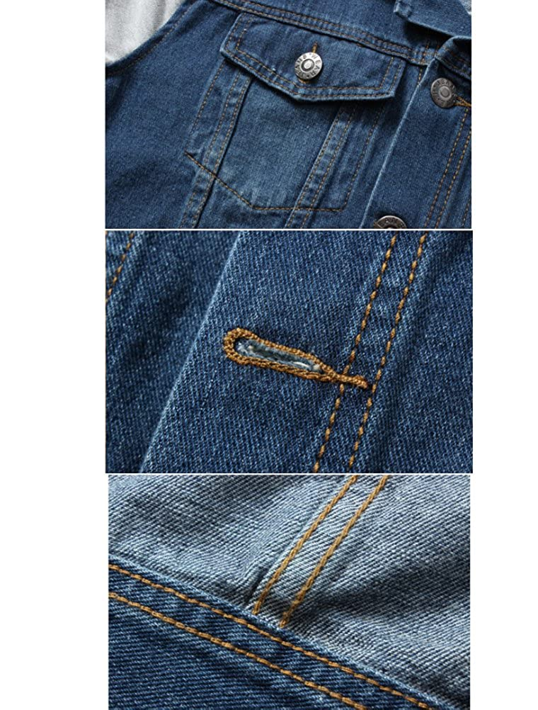PASOK Mens Denim Hoodie Jacket Casual Full Zip Trucker Jacket Jean Coat
