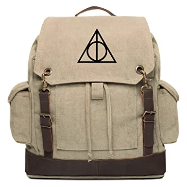 9dfb6fef7 Deathly Hallows Harry Potter Rucksack Backpack with Leather Straps, Khaki &  Bk
