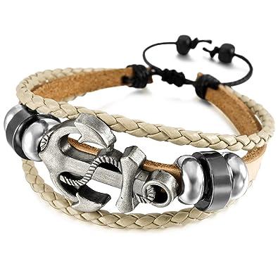 f711f00cc803 MunkiMix Aleación Genuina Cuero Pulsera Brazalete Brazalete Manguito Cable  Cuerda Gris Negro Ancla Náutico Tablista Envolver Wrap Ajustable Hombre
