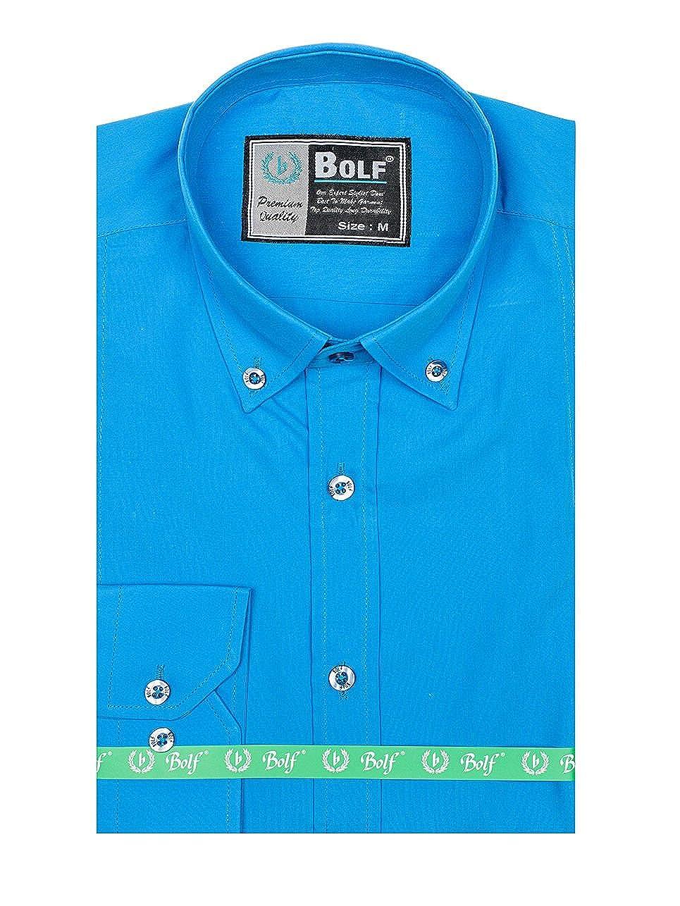 BOLF - Camisa casual - Manga Larga - para hombre azul X-Large ...