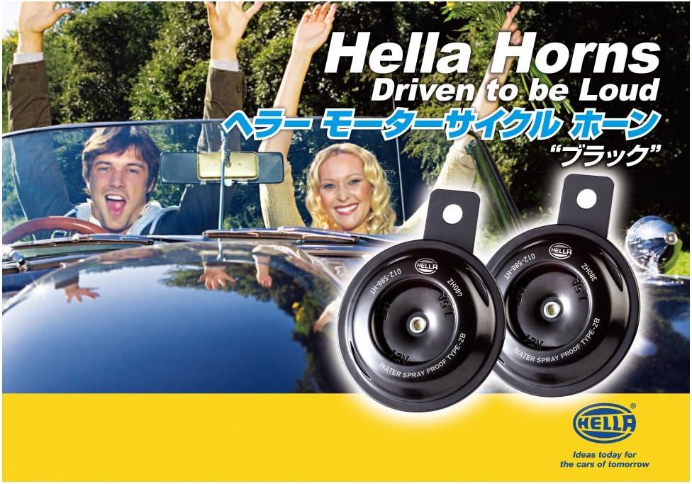 Universal Fit-Set//Box HELLA 012588011 Motorcycle Series Black 12V Disc Horn Kit