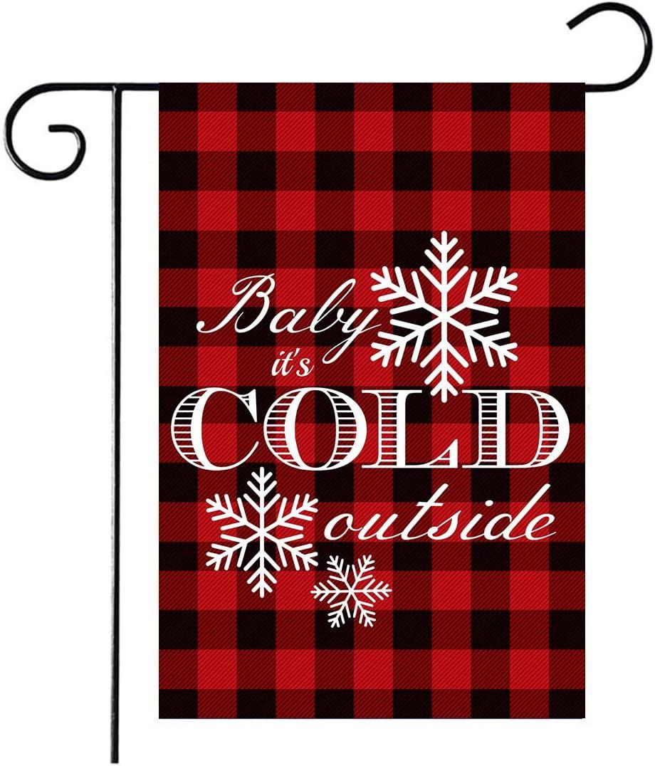 YIWANDA Baby It's Cold Outside Christmas Garden Flag, Decorative Xmas Outdoor Flag Sign Buffalo Check Plaid, Rustic Burlap House Yard Flag Winter Outside Decoration Holiday Home Decor Flag 12.6 x 18