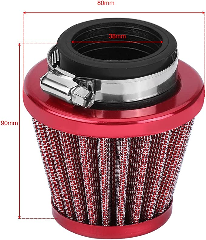 38mm Red Clamp-On Air Filter Intake Kit For Motorcycle ATV Quad Dirt Pit Bike BS