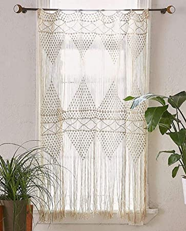 Amazon Flber Macrame Curtain Wall Hanging Handwoven Boho Wedding Backdrop Kitchen Curtains50x 75 Home
