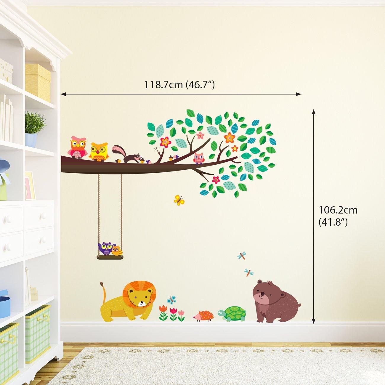 Decowall DW-1410 Grosse Branche /& Chouettes Autocollants Muraux Mural Stickers Chambre Enfants B/éb/é Garderie Salon