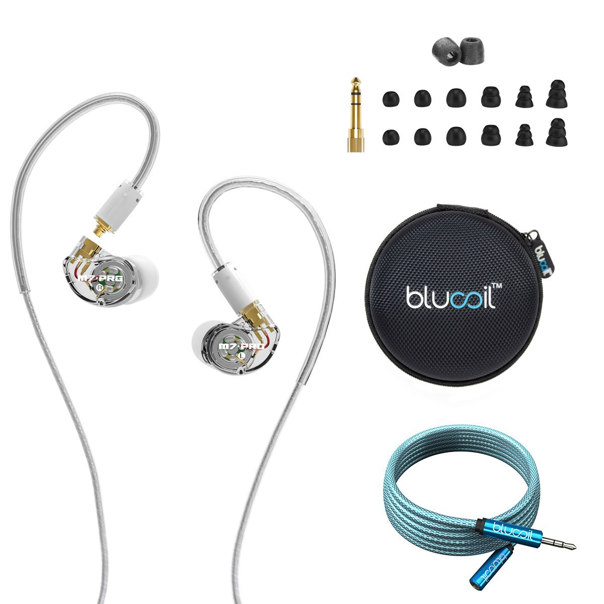 MEE audio M7 PRO Hybrid Dual-Driver Musician's In Ear Monitors -INCLUDES- Blucoil Audio Premium 3.5mm Audio Extension Cable (6-Feet/1.82 Meters) AND Earphone Hard Case