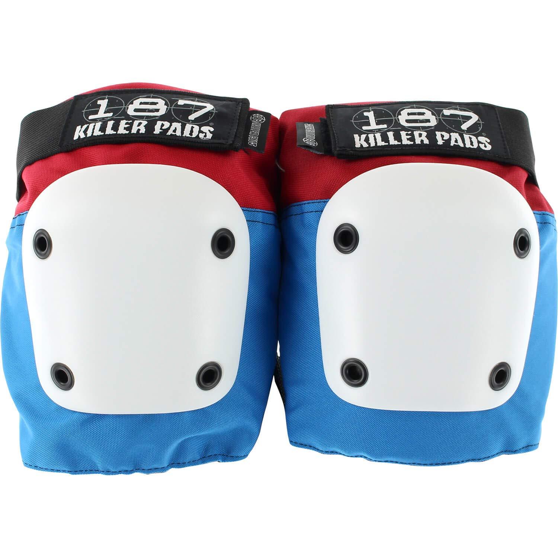 187 Killer Pads Fly Red/White/Blue Knee Pads - Medium