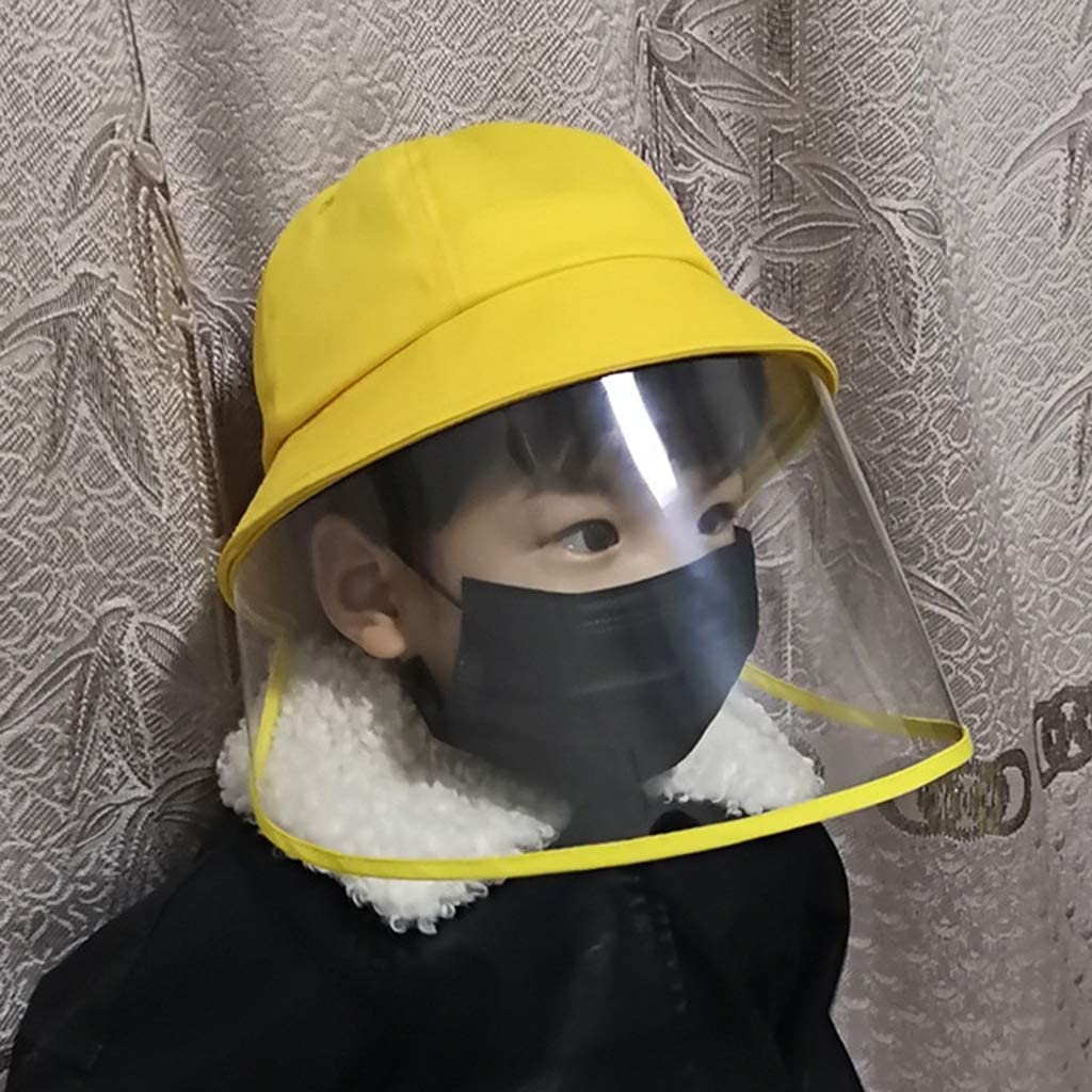 perfeclan Sombrero Protector Anti-saliva Mascarilla Facial Protectora Completa Cubierta Antivaho Plegable Gorro de Sol para Ni/ños Ni/ñas