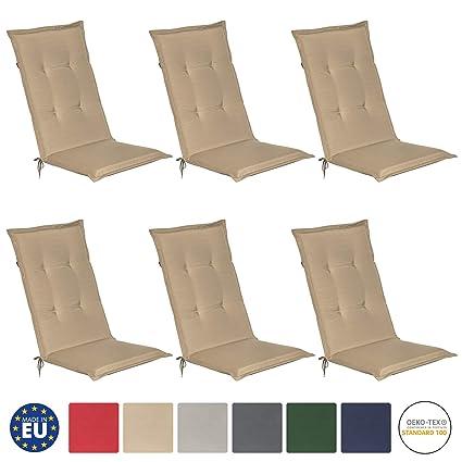 Beautissu Loft HL - Set de 6 Cojines para sillas tumbonas mecedoras de balcón o Asiento Exterior con Respaldo Alto - 120x50x6 cm - Placas compactas de ...