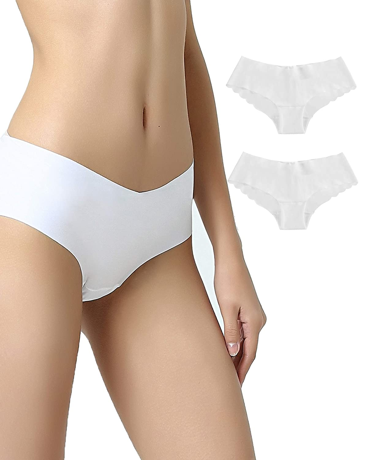 VANEVER Women's No VPL Knickers, 2 Pack, Low Waist Invisible Hipsters, Smooth No Visible Panty Line Underwear