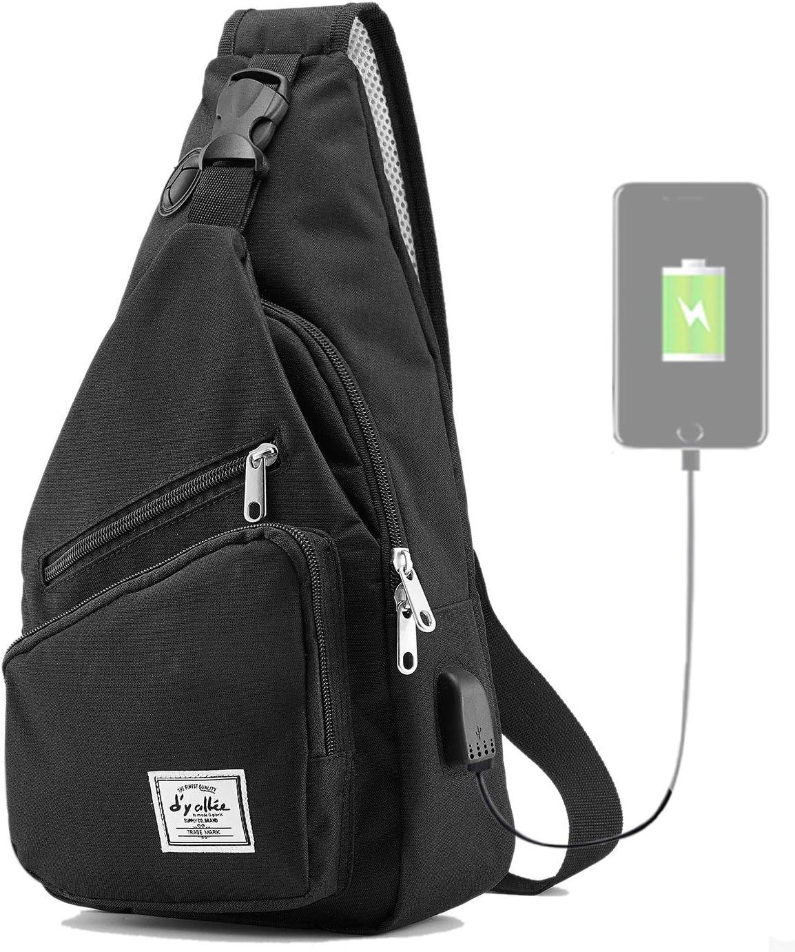 Men Genuine Leather Chest Bag Shoulder Bag Sling Pack Crossbody Handbag Sports