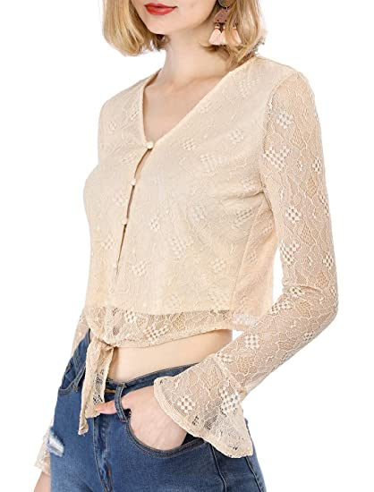 3087b70783dba3 Allegra K Women's Bell Sleeve V Neck Tie Lace Crop Top at Amazon Women's  Clothing store: