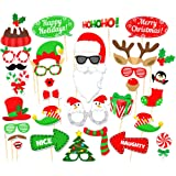 Fancyku Christmas Photo Booth Props Kit, DIY Photo Booth with Stick Funny Xmas Selfie Props Accessories for Adults Kids for Christmas Theme Party Favors Decorations Supplies 32Pcs