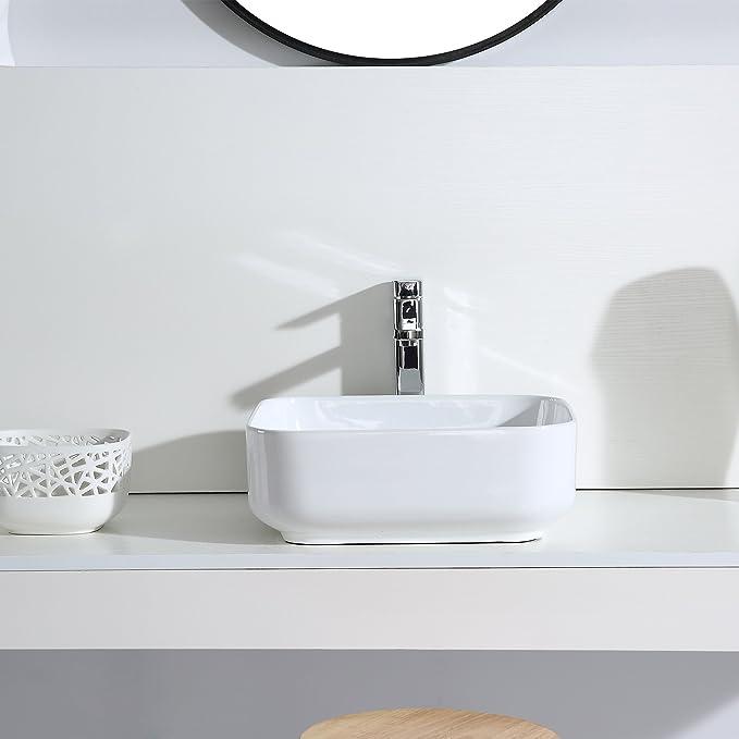lavabo sobre encimera la parte superior de lavabo fregadero de cer/ámica Eridanus serie Keiko 50 cm