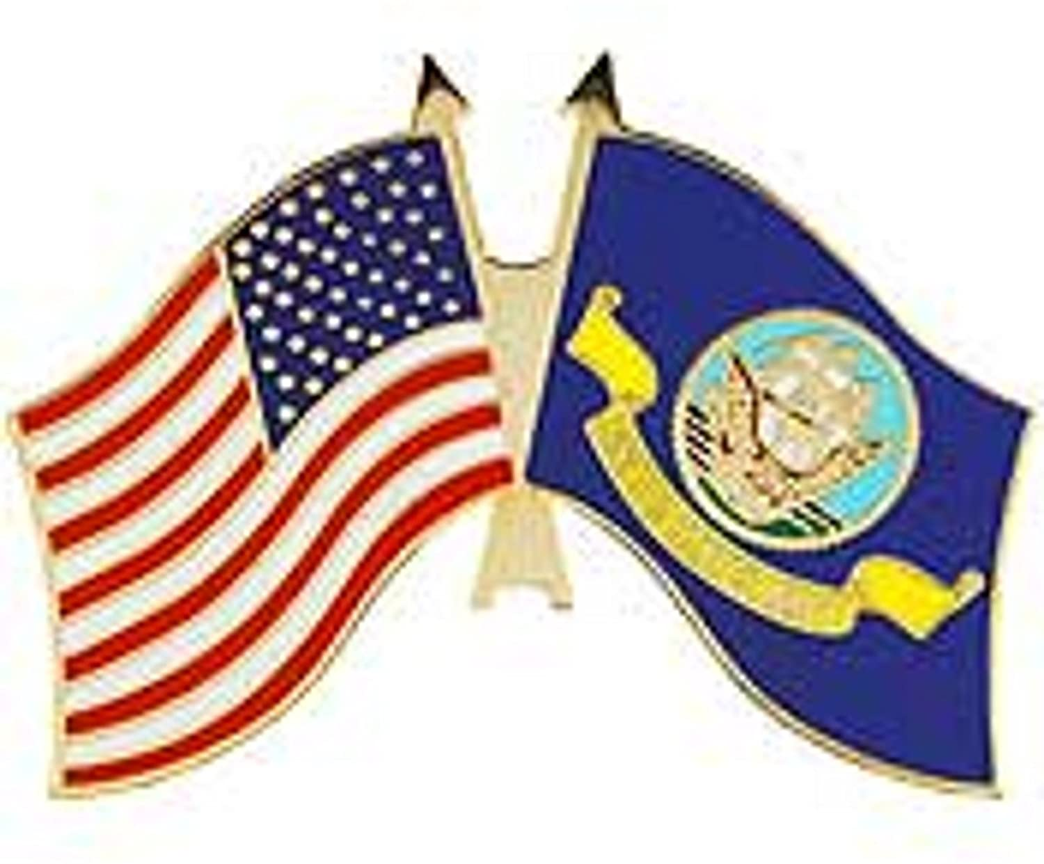 US Navy and USA Flag Military Lapel Pin 1-1/4 Inches