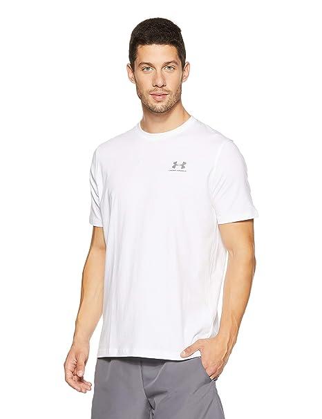 bd3652c3 Under Armour Men's Charged Cotton Left Chest Lockup T-Shirt, White  /Graphite,